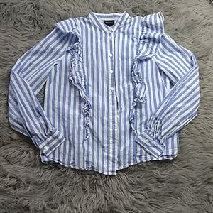 Who what wear sz S strip ruffled button down top